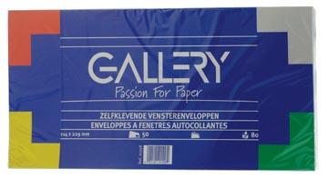 Gallery enveloppen ft 114 x 229 mm, met venster rechts, stripsluiting, pak van 50 stuks