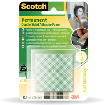 Scotch permanente dubbelzijdige foam, blister met 16 stuks