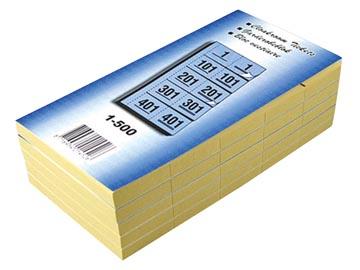 Garderobeblokken nummers van 1 t.e.m. 500, blauw
