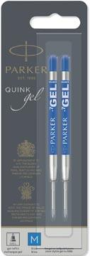 Parker Quink Gel vulling voor balpen medium, blauw, blister met 2 stuks