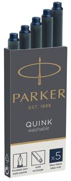 Parker Quink inktpatronen blauw-zwart, doos met 5 stuks