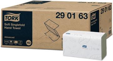 Tork papieren handdoeken Advanced, 2-laags, 250 vellen, systeem H3, wit, pak van 15 stuks