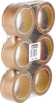 Scotch verpakkingsplakband Classic ft 50 mm x 66 m, bruin, pak van 6 rollen