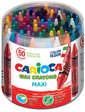 Carioca waskrijt Wax Maxi, plastic pot met 50 stuks in geassorteerde kleuren