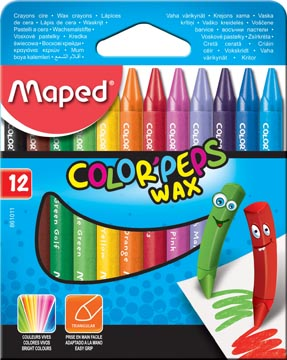 Maped waskrijt Color'Peps Wax, doos van 12 stuks in geassorteerde kleuren