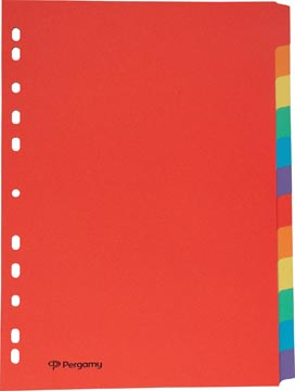 Pergamy tabbladen, ft A4, uit karton, 12 tabs, 11-gaatsperforatie, in geassorteerde kleuren