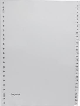 Pergamy tabbladen, ft A4, 23-gaatsperforatie, grijze PP, set 1-31