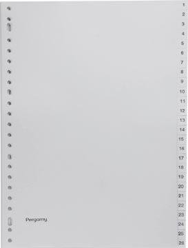 Pergamy tabbladen, ft A4, 23-gaatsperforatie, grijze PP, set 1-52