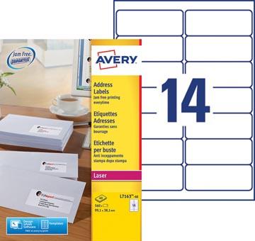 Avery L7163, Adresetiketten, Laser, Ultragrip, wit, 40 vellen, 14 per vel, 99,1 x 38,1 mm